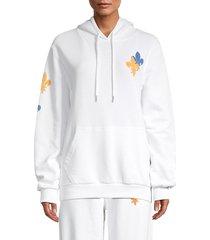 eleven paris women's fleur de lis hoodie - white - size m