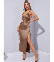 vestido largo con diseño sin espalda de satén espagueti de yoins