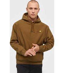 carhartt wip hooded american script sweat tröjor brown