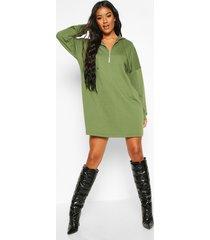 zip hooded oversized sweatshirt dress, olive