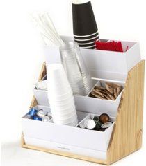mind reader 9 compartment condiment organizer with acrylic drawers and wood base