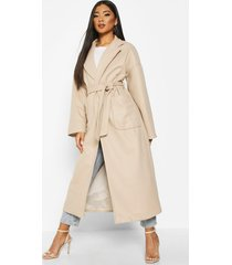 oversized pocket belted maxi wool look coat, stone