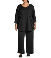 tiana b women's 2-piece hooded top & pants set - black - size 3x (22-24)