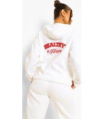 healthy & happy hoodie met rugopdruk, white