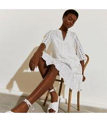 river island womens white short sleeve broderie shirt beach dress