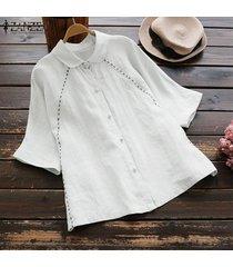 zanzea las mujeres del verano más la corto de algodón manga camisas de las señoras flojas ocasionales remata la blusa -blanquecino