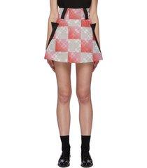 checkered floral print a-line mini skirt