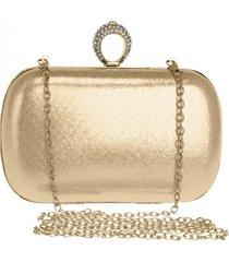 bolsa clutch liage alça removível tecido metalizado metal strass cristal pedra dourada - tricae