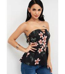 blusa sin mangas con hombros descubiertos y estampado floral al azar sin espalda negra
