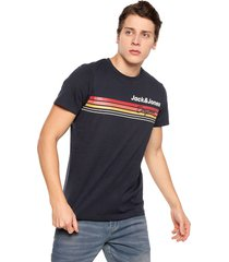 camiseta azul-multicolor jack & jones