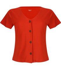 camiseta con botones color naranja, talla 6