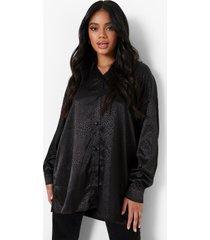 petite oversized jacquard satijnen luipaardprint blouse, black