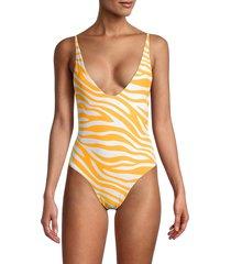 bond-eye women's viva zebra-print one-piece swimsuit - golden - size m