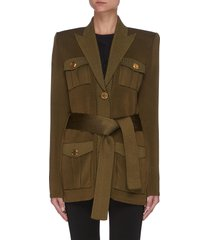 belted peak lapel padded shoulder jacket