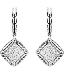 'classic chain' diamond sterling silver earrings