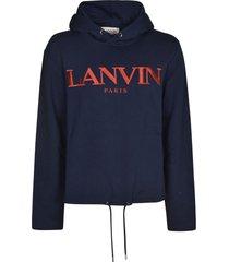 lanvin logo embroidered drawstring hem hooded sweatshirt