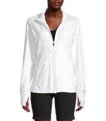 marika women's vanessa zip-up thumbhole jacket - white - size l