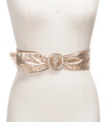 inc wide metallic stretch belt with rhinestone buckle, created for macy's