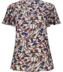 blusa cadenas con arandela color blanco, talla 18