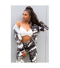 sexy cropped military style jas camouflage