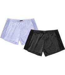 pantaloni pigiama corti in satin (pacco da 2) (nero) - bpc bonprix collection