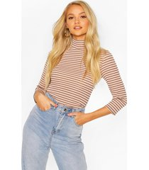 striped turtle neck rib top with 3/4 sleeves, camel