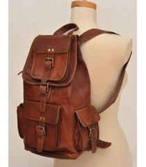 new genuine leather  brown vintage backpack rucksack travel bag men's women's