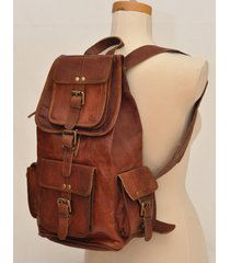 new genuine leather  brown vintage backpack rucksack travel bag men's women's