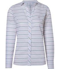 camisa dudalina manga longa feminina tricoline fio tinto feminina (listrado, 46)
