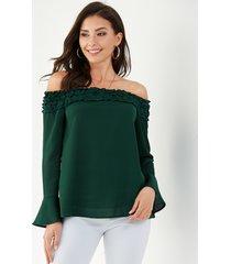 yoins blusa con mangas acampanadas y hombros descubiertos con borde de lechuga verde