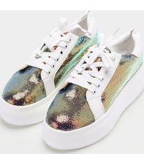zapatos casuales con cordones de lentejuelas