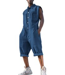 hombres summer casual plain button front multi-pocket denim fashion sin mangas monos mono
