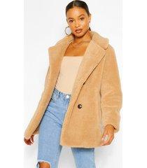 faux fur teddy jas met dubbele knopen, kameel