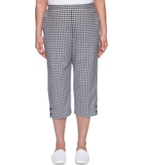 alfred dunner checkmate gingham button-trimmed capri pants