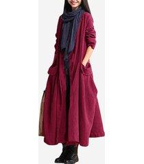 vintage maxi-cappotto con coulisse con tasche a maniche lunghe