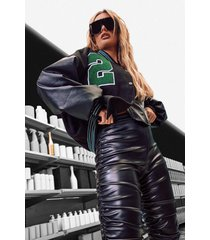 oversized varsity jas met pu mouwen, black