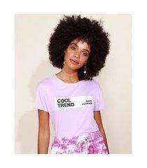 "blusa de moletinho feminina cool trend"" manga curta decote redondo lilás"""