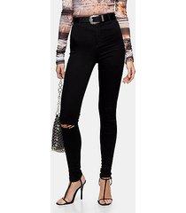 black rip belt loop joni skinny stretch jeans - black