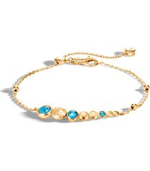 'dot' turquoise 18k yellow gold charm chain bracelet