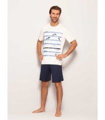 pijama any any viscose azul marinho