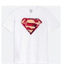 camiseta masculina com estampa super homem | dc comics | branco | g