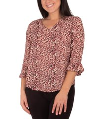 ny collection petite printed high-low top