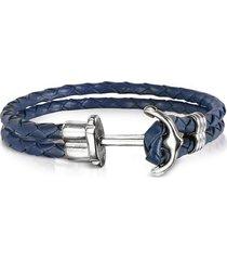 forzieri designer men's bracelets, navy blue leather men's bracelet w/anchor