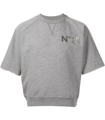 nº21 logo-appliqué short-sleeve sweatshirt - grey