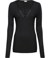 maglione a costine con stringatura (nero) - bodyflirt boutique