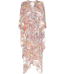 etro paisley kaftan maxi dress - white
