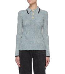 contrast trim linen rib knit polo shirt