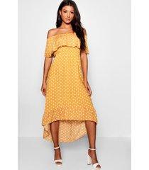 geweven maxi-jurk met print van polkastippen en boothals, mosterd