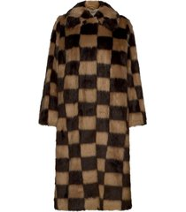 nino coat check outerwear faux fur beige stand studio