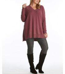 women's plus size v neck tunic sweater